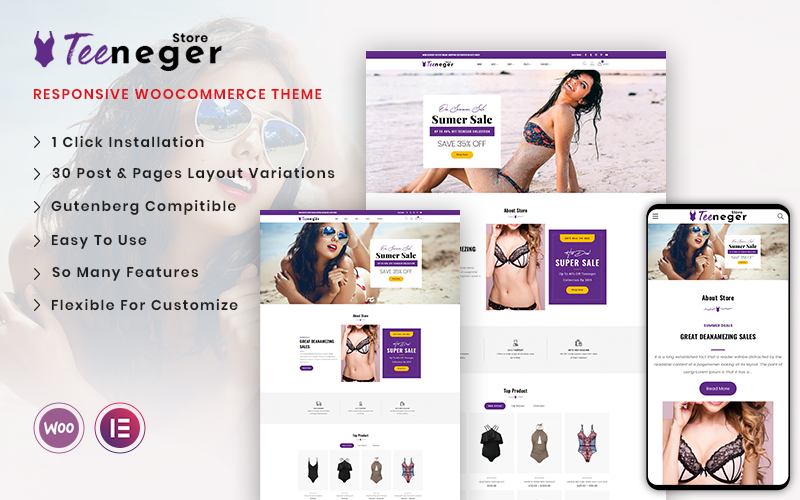 Teeneger - Lingerie Shop WooCommerce Theme