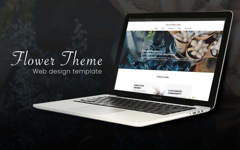 Blumenthema Markenverkaufsseite PSD-Website-Vorlage