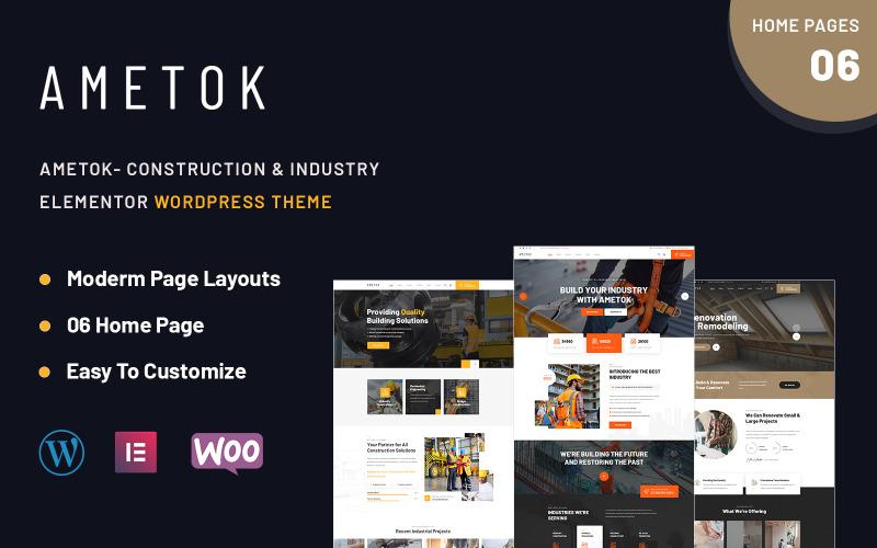 Ametok - Construction & Industry Wordpress Elementor Theme
