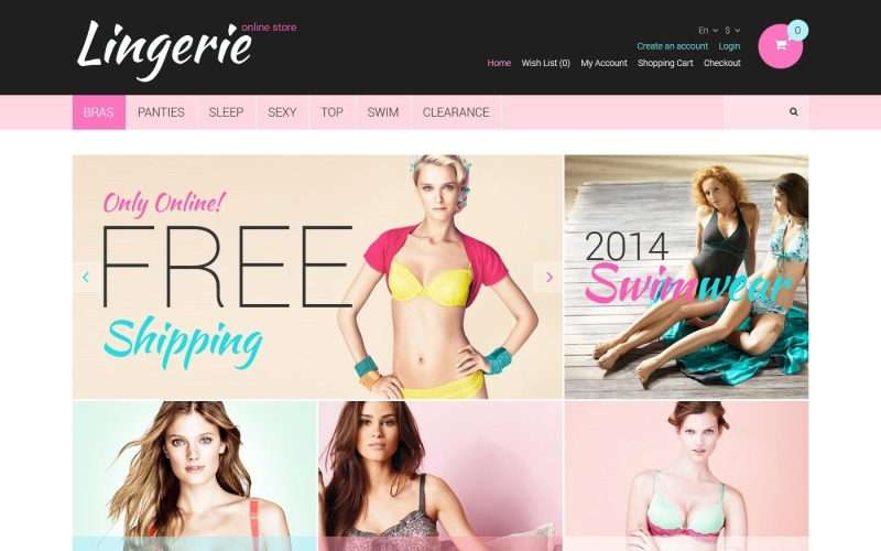 Free Lingerie Responsive OpenCart Template