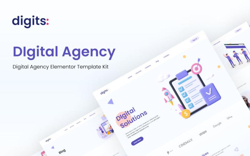 Chiffres - Kit de modèles Elementor d'agence numérique