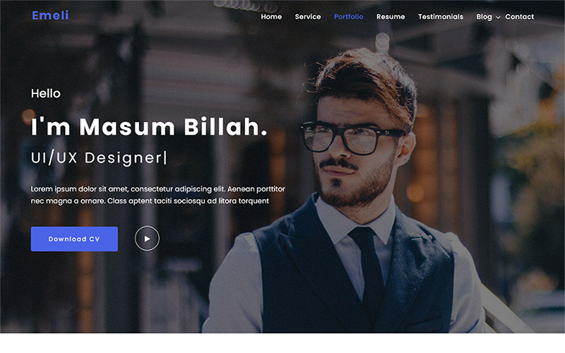 Emeli - Personal Resume and Portfolio WordPress Theme