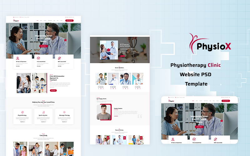 PhysioX - Physiotherapy Clinic Website PSD Template
