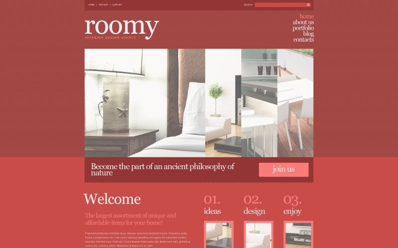 Free Interior Design Responsive WordPress Layout & Website Template