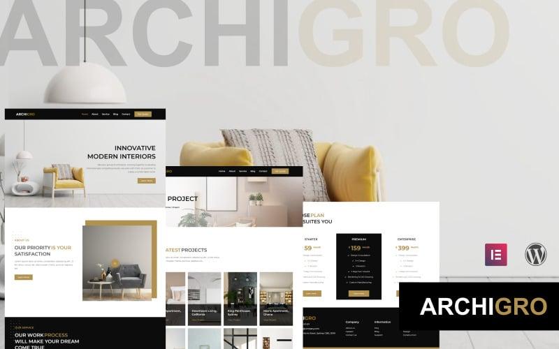 Archigro - Un kit de modèles Elementor pour site Web d'architecte et d'intérieur