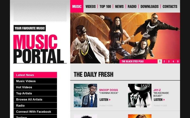 Free Music Portal WordPress Design
