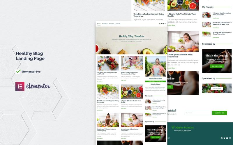 Blog Santé | Modèle de page de destination du kit Elementor Pro pour un blog sain
