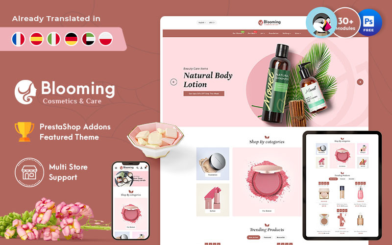 Blooming - PrestaShop Theme for Online Cosmetic Store