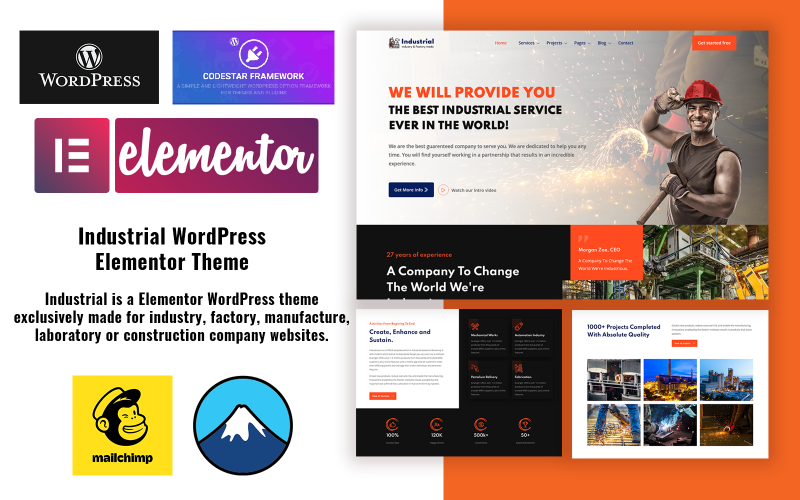 Industrial - Industry and Factory WordPress Elementor Theme