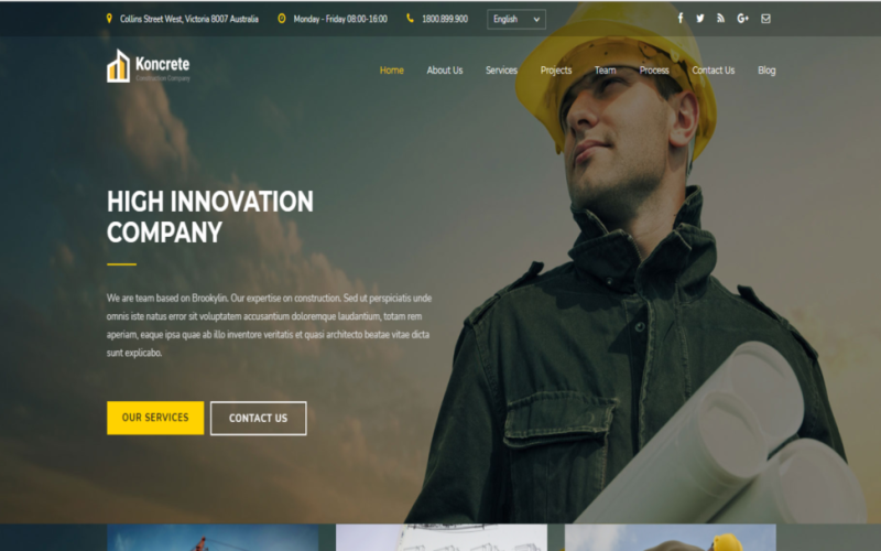 Koncrete Construction-One Page HTML5 Website Template