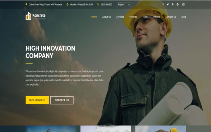 Конкретное строительство - одностраничный HTML5 шаблон веб-сайта