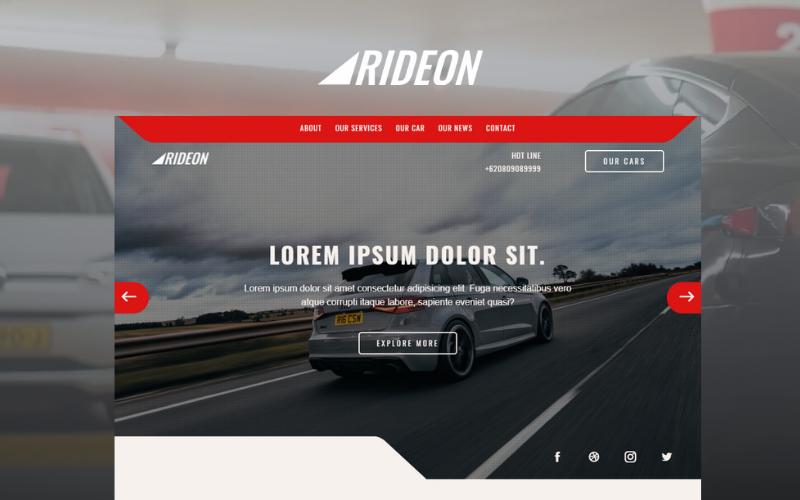 Rideon - Шаблон начальной страницы для многоцелевой службы аренды автомобилей