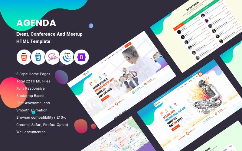 Agenda - HTML-Vorlage für Veranstaltung, Konferenz und Meetup