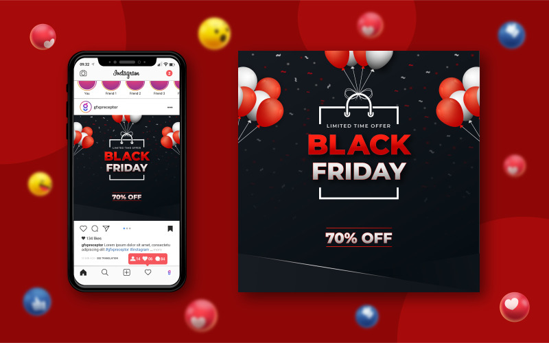 Black Friday Social Media Sale Banner Design mit Luftballons und Konfetti