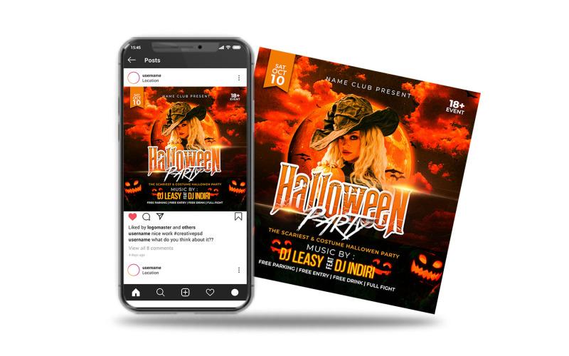 Halloween-Party-Flyer oder Instagram-Post