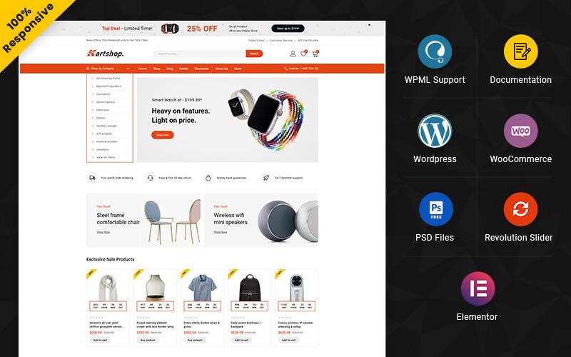 Kartshop - многоцелевой адаптивный магазин WooCommerce Mega Shop