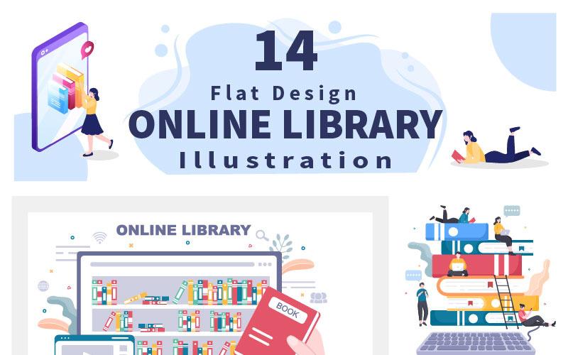14 Online Library Digital Education Illustration