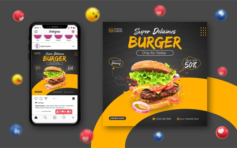 Social Media Food Promotion and Banner Design Template