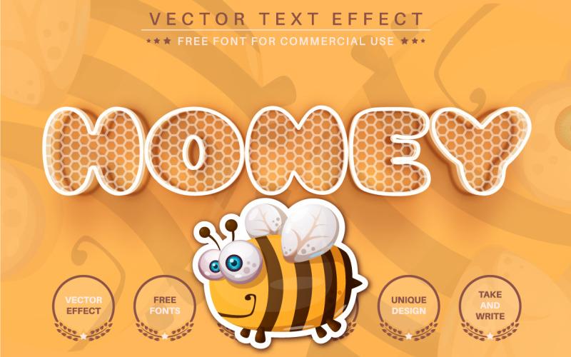 Süßer gelber Honig - bearbeitbarer Texteffekt, Schriftstil, grafische Illustration