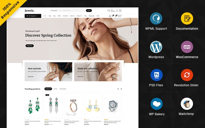 Jewelz – Jewelry and Wedding Multipurpose Responsive WooCommerce Store