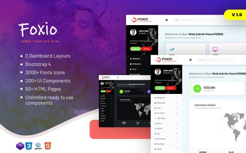 Foxio - Responsive Admin Dashboard Template