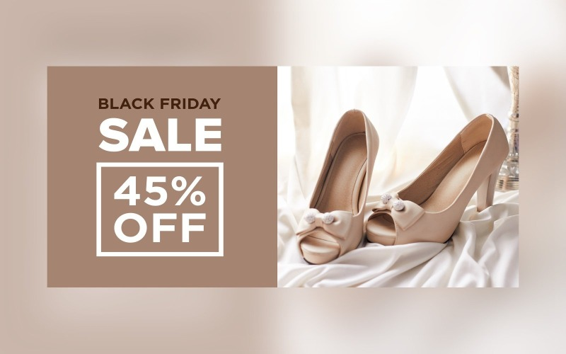 Black Friday Sale Banner with 45% Off On Cream Color Background Design Template