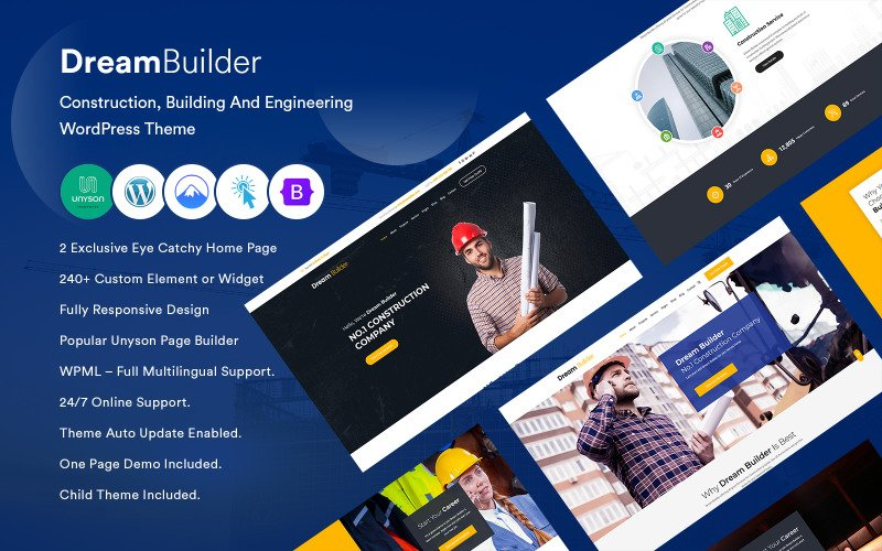 DreamBuilder - Construction, Building And Engineering  WordPress Theme