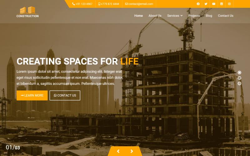 Konstruktion - Joomla 4 Vorlage mit vorgefertigten Websites