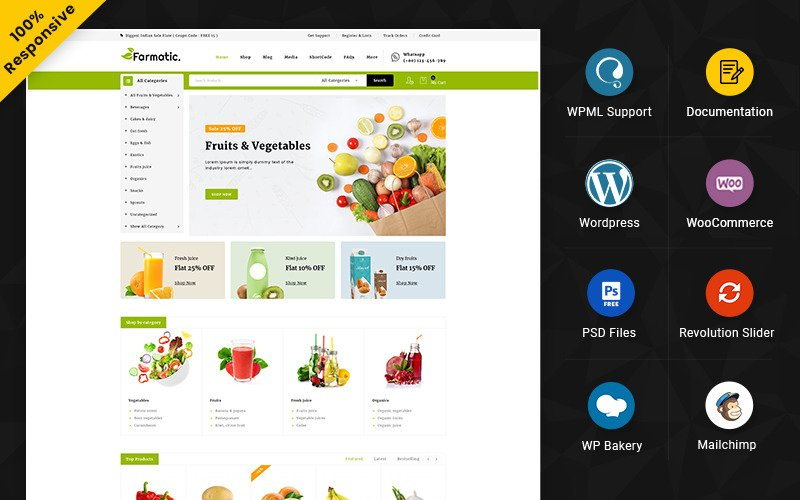 Farmatic - Responsive WooCommerce Store für Lebensmittel und Restaurants