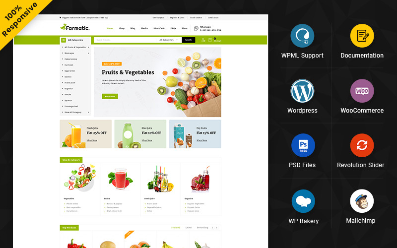 Farmatic - 食品和餐厅多用途响应式 WooCommerce 商店
