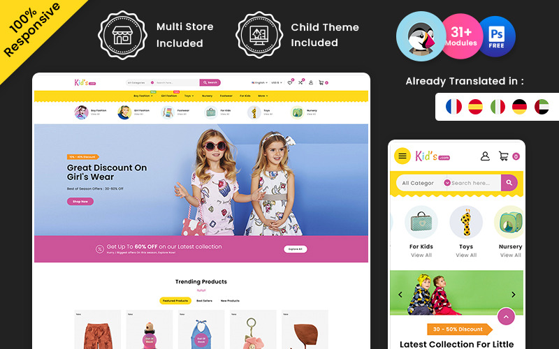 Kids Store - Многофункциональный магазин детской моды и игрушек Prestashop Store