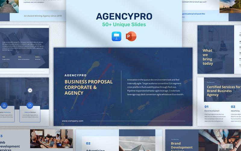 AgencyPro - Modèle PowerPoint de présentation de Pitchdeck de proposition commerciale