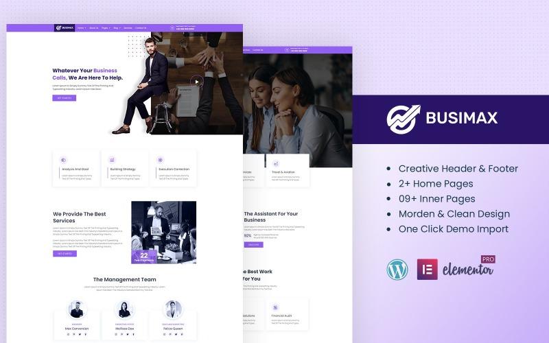 Busimax - Kit Elementor prêt à l'emploi pour services d'affaires et de conseil