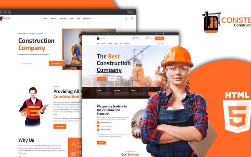 Constee Construction Services HTML5 Website Template