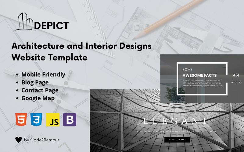 Depict - шаблон целевой страницы HTML5 с адаптивным дизайном и интерьером
