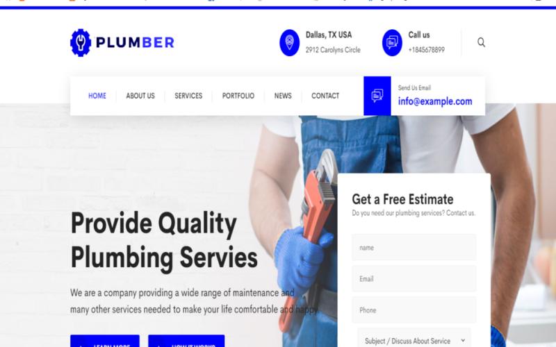 管道 - 管道工和维修服务维护 HTML 模板
