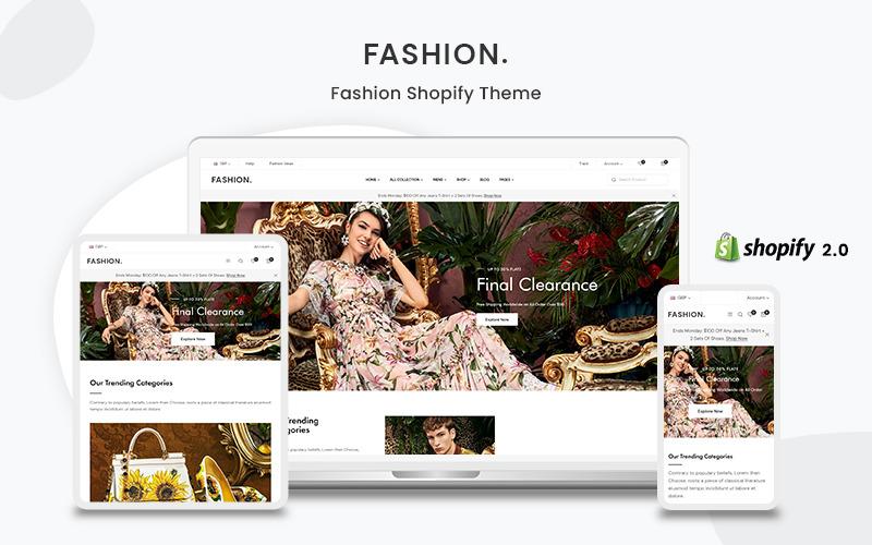 Мода - адаптивная многоцелевая тема для электронной коммерции Shopify