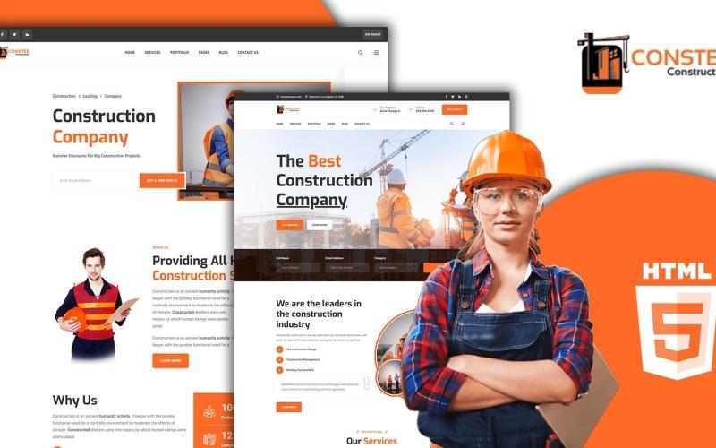 Modèle de site Web HTML5 des services de construction de Constee