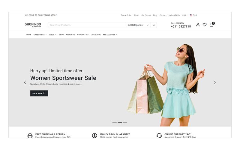 Shopingo - HTML-шаблон для электронной коммерции