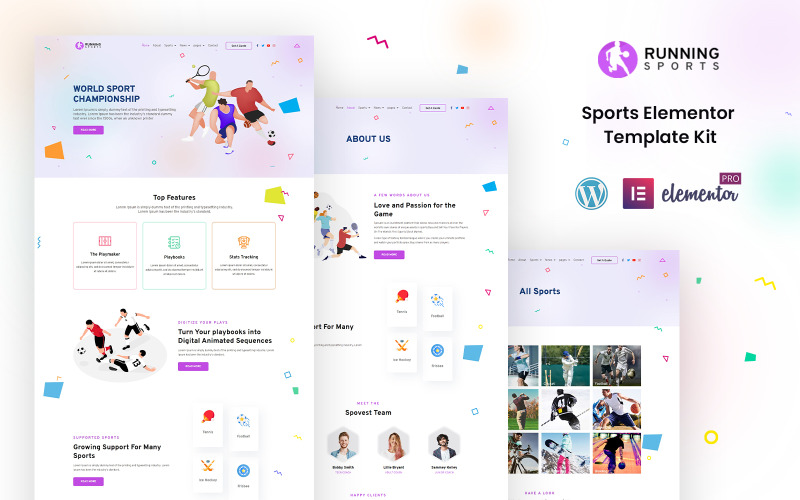 Спортивный бег - спортивный готовый комплект Elementor
