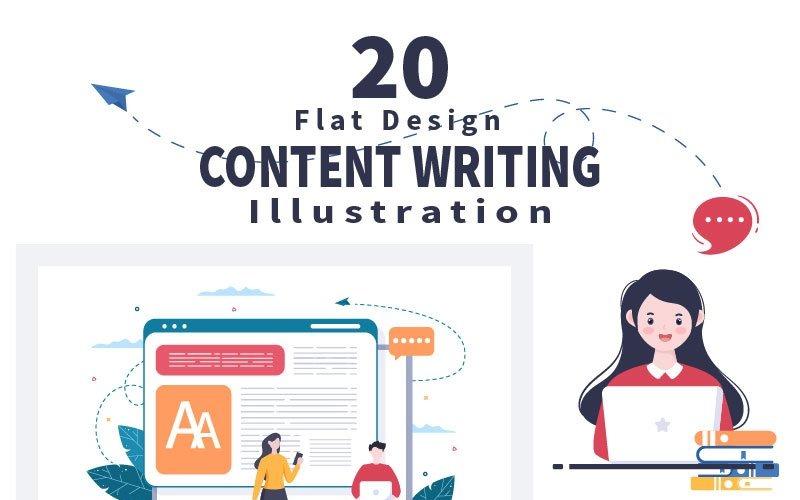 20 Написание контента или журналистская векторная иллюстрация