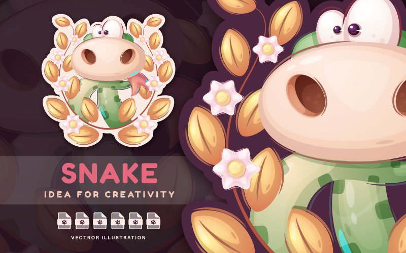 Serpent en peluche animal personnage de dessin animé - autocollant, illustration graphique