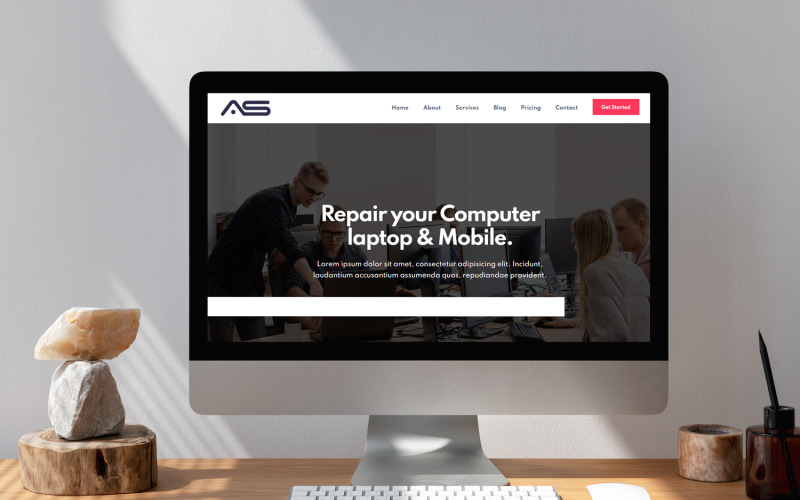 Basar - Computerreparaturdienste HTML5 Landing Page Template
