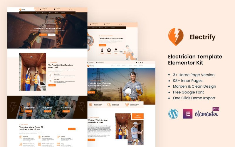 Electrify - einsatzbereites Elementor-Kit für Stromdienstleistungen
