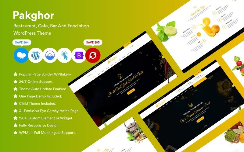 Pakghor - 餐厅、咖啡厅、酒吧和食品店 WordPress 主题