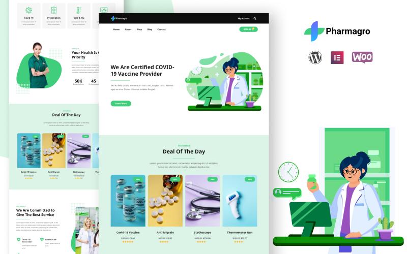 Pharmagro - Ein Apothekengeschäft und eine Drogenwebsite Elementor Template Kit