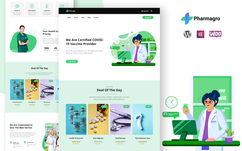 Pharmagro - Un kit de modèles Elementor pour un site Web de pharmacie et de médicaments