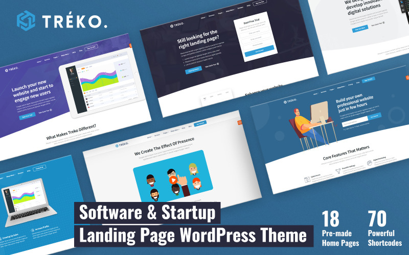 Treko - Thème WordPress pour démarrage et logiciel d'atterrissage