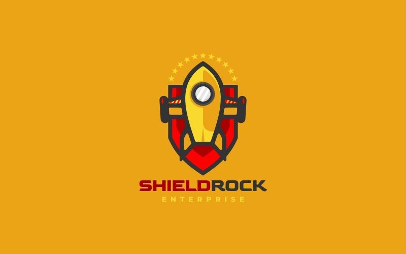 Shield Rocket Simple Mascot Logo
