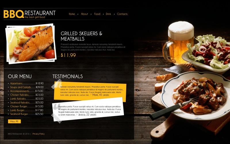 BBQ Restaurant webbplats mall